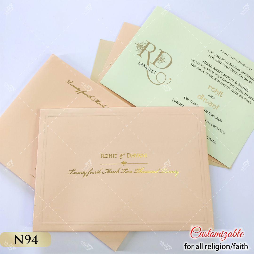 peach pastel hardcover invitation hot foil print