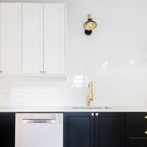 kitchen sink and sconce