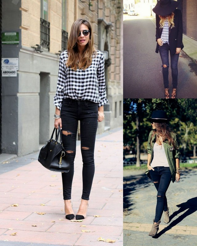 outfits with black distressed skinny jeans
