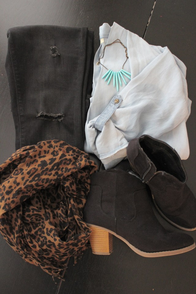 chambray blouse; distressed black skinny jeans; turquoise spike necklace; black booties; leopard scarf