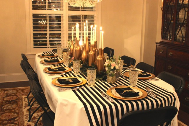 30th birthday party decor; black, gold, white and pink; spray painted wine bottle candlesticks