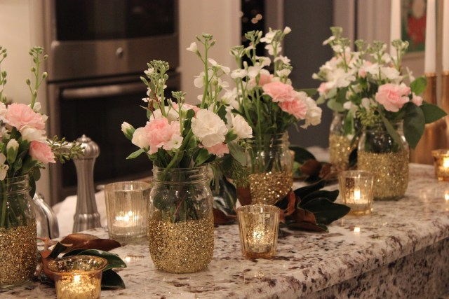 30th birthday party decor; pink and white flowers in gold vase