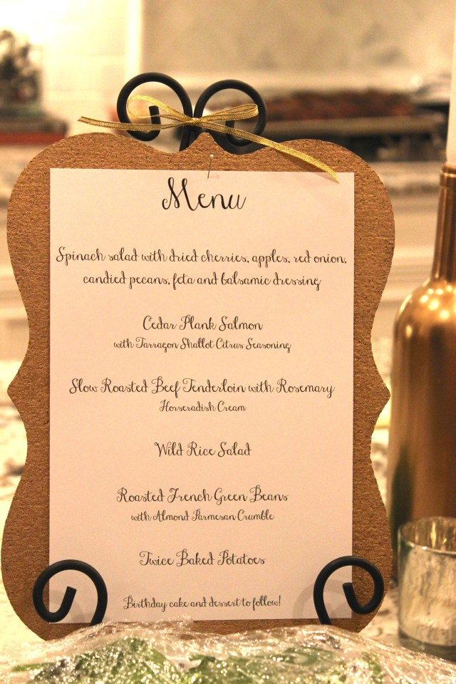 gold dinner menu, birthday party