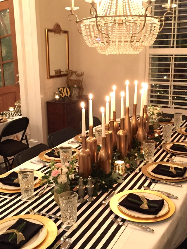 30th birthday decor; black and white with gold accents