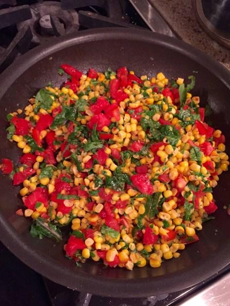 prep, worm corn, kale, tomato salad