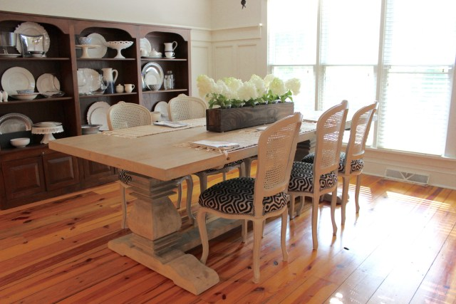 blue, white, neutral dining room with farm table