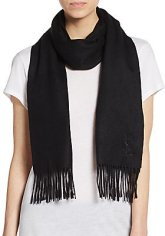 wool cashmere black scarf with fringe