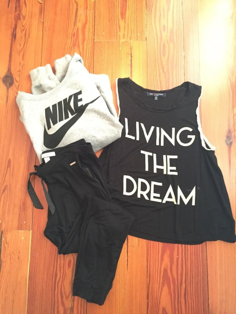 jogger pants, Nike sweatshirts, graphic tank