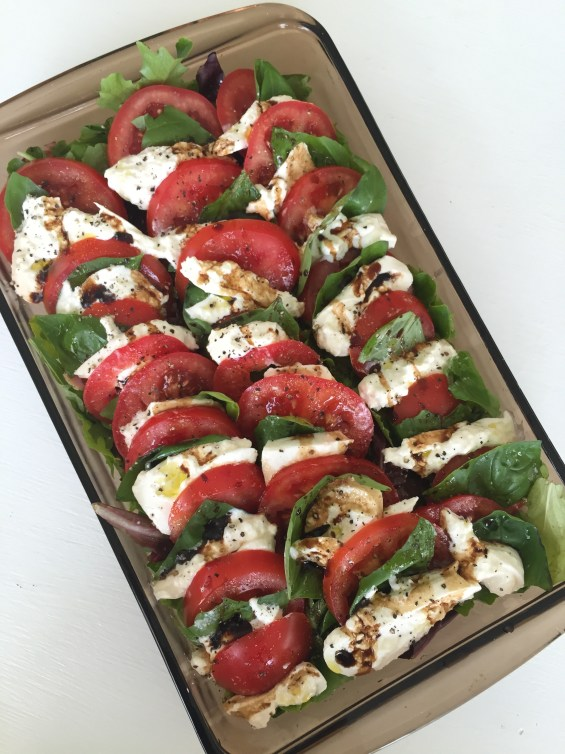 Caprese Salad with Burrata over Mixed Greens