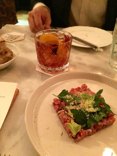 beef tartare and bartender's selection cocktail; best restaurants in Charlotte