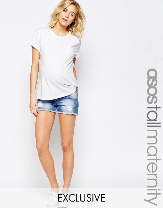 maternity clothes from Asos; maternity denim shorts, distressed denim