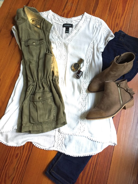 fall fashion ankle boots tunic blouse utility vest maternity
