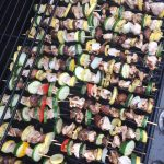 Whole 30 Chicken and Shrimp Kabobs with Basil Dressing