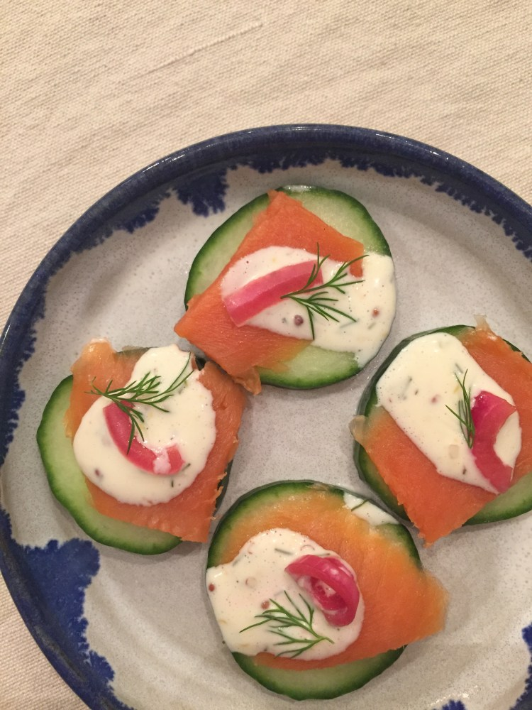 what I've been eating lately; cucumber salmon appetizer