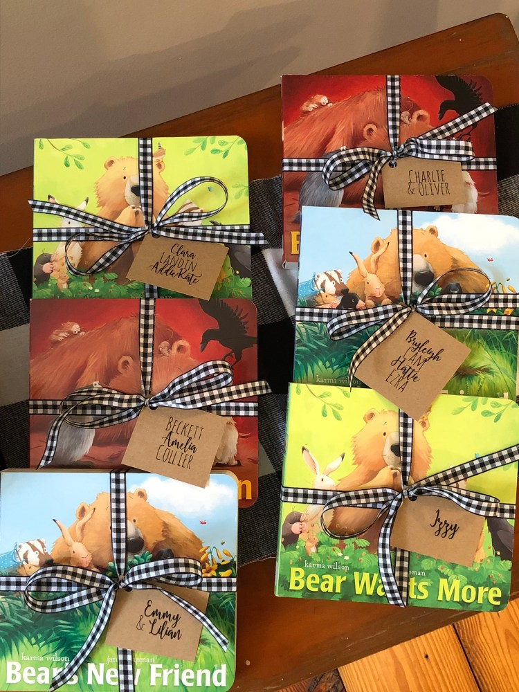 favors for teddy bear first birthday party; books as party favors; best bear books