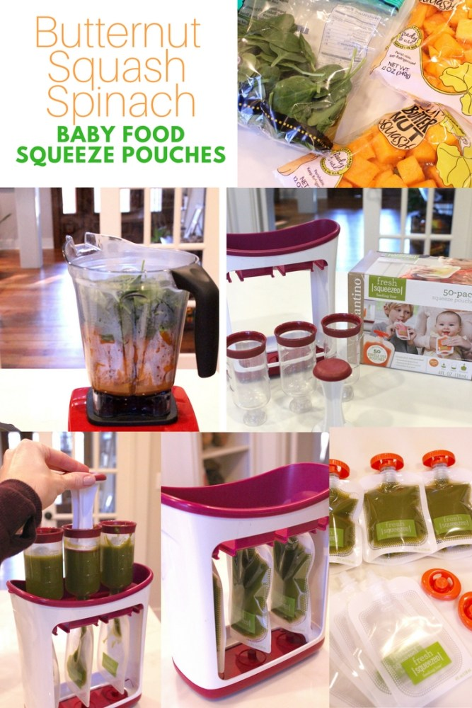 How to Make Homemade Baby Food Squeeze Pouches and Purees; Butternut Squash Spinach baby food squeeze pouches-2