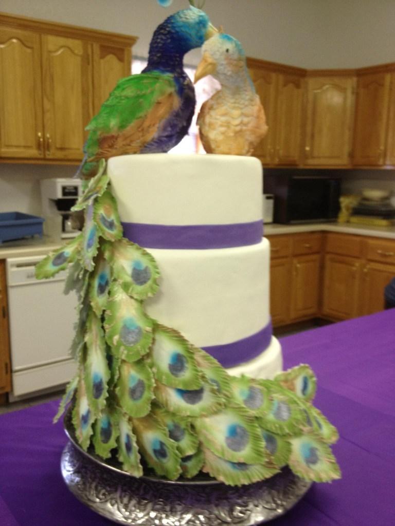 Peacock Pair Wedding Cake