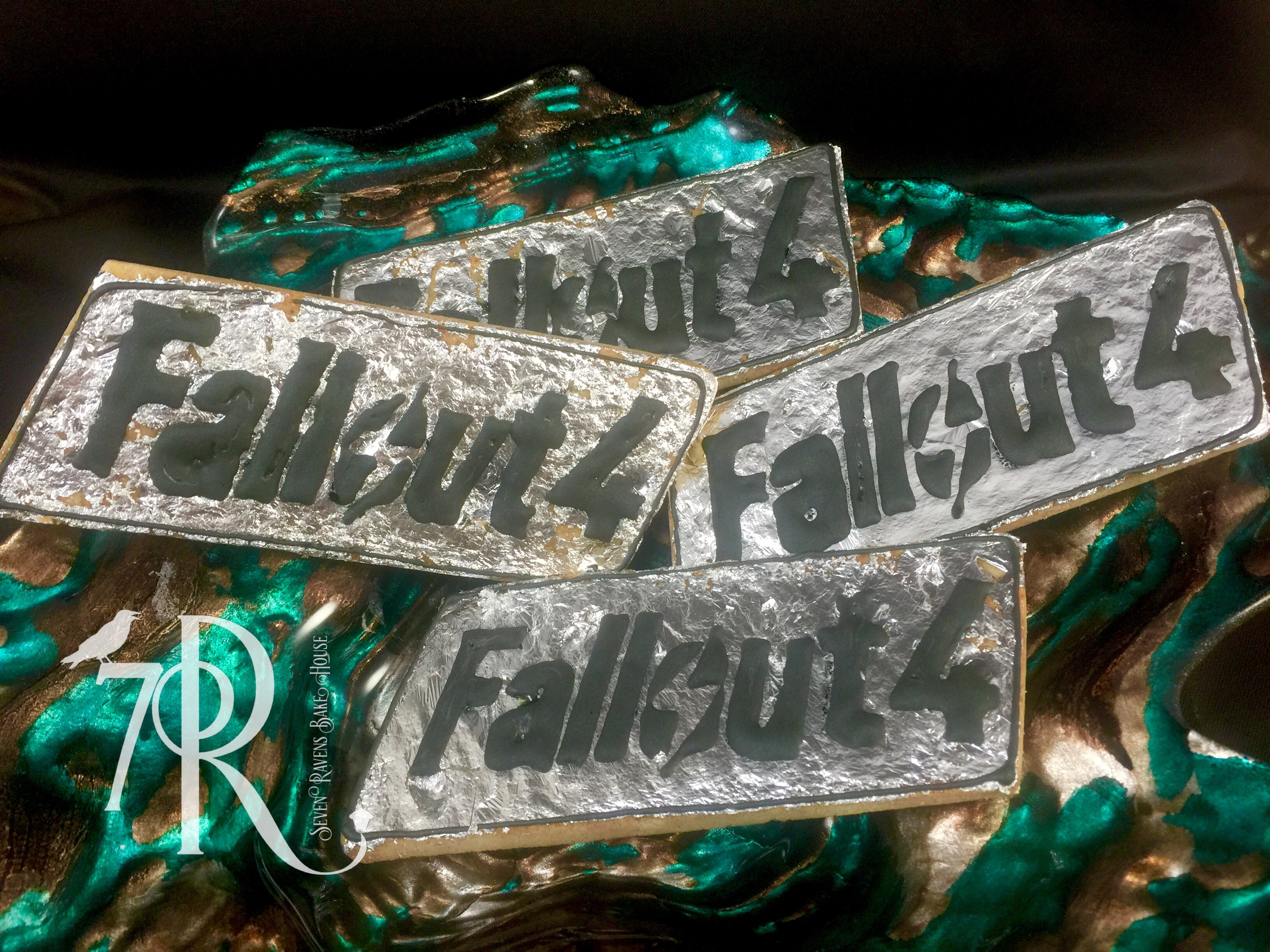 FallOut4 Logo Cookies with edible silver leaf