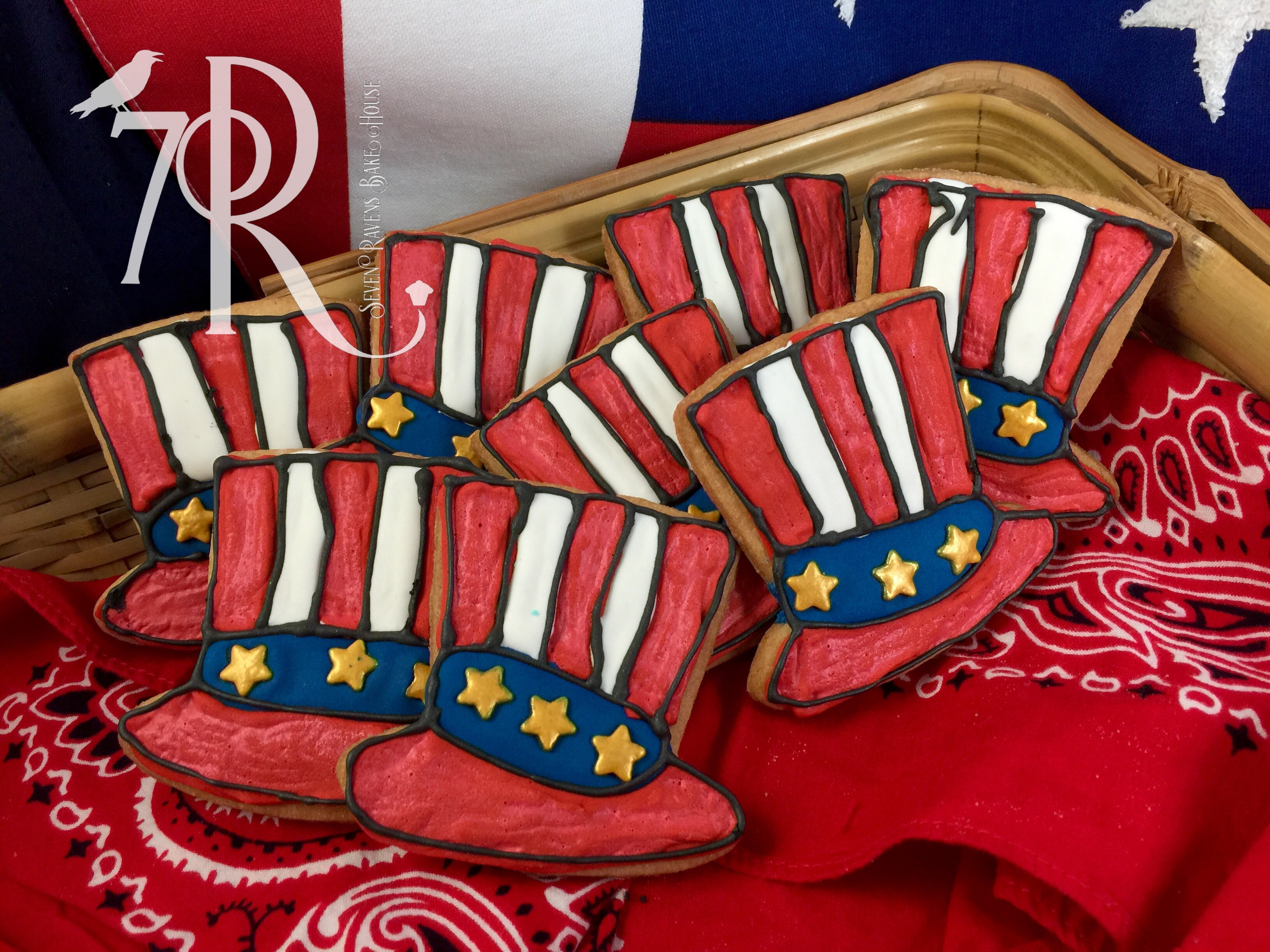 4th of July tophat cookie