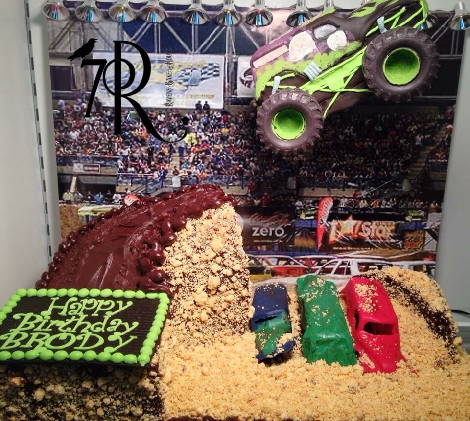 Chocolate Monster Truck with cake hill.