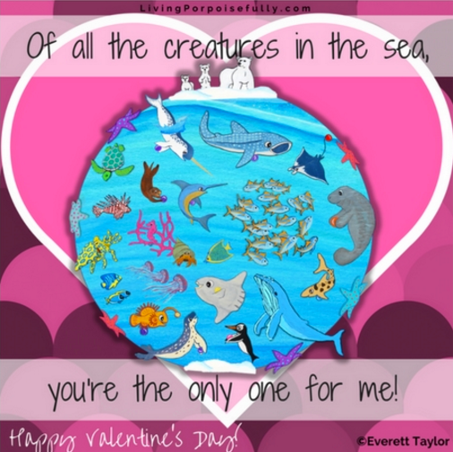 Share some ocean love with our new FREE printable Valentine's Day cards!  We've got several formats to print in full color or black & white, and also a digital image that we welcome you to share via email and social media. Whether it's for an event, or in your own kids' lunchboxes, we hope it will bring some ocean-themed fun for all. Click here https://livingporpoisefully.com/2017/02/03/ocean-themed-printable-valentines-day-cards-free/  for the link to the free downloadable pdf files.  Enjoy!