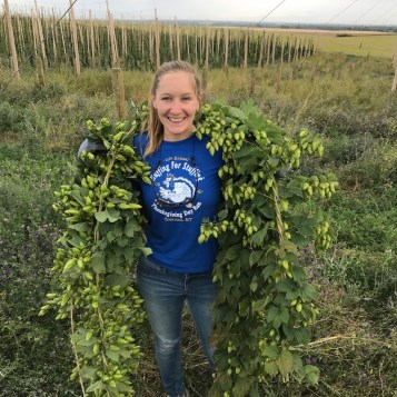 Chelsea Kaderavek harvesting at local company, Crooked Yard Hops