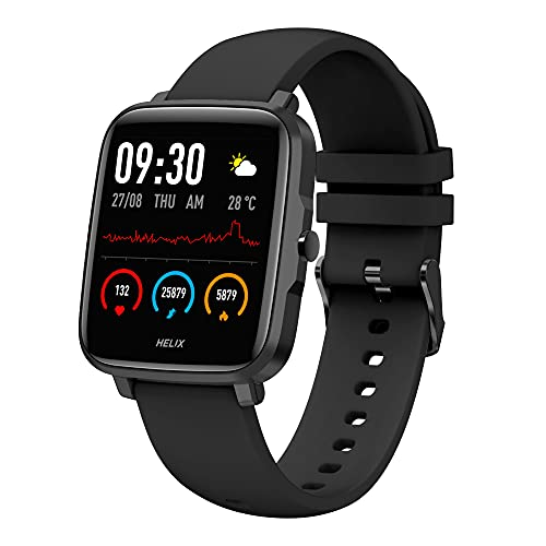 """Timex Helix Smart 2.0 Large 1.55"""" Display Full Touch Smart Watch Body Temperature Monitor, IP68(Dustproof & 3m Water Resistant), HRM, Sleep & Activity Tracking, 10 Sports Modes and Up to 15 Days of Battery"""