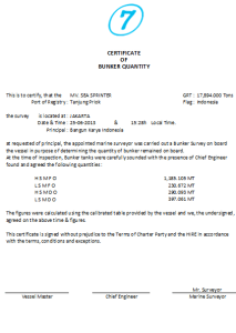 Certificate of Bunker Quantity