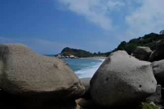 The view back to Playa Canaveral, hiking through Tayrona National Park.