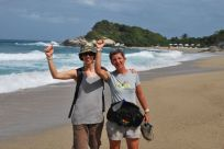 Celebrating completion of our trek through Tayrona National Park.