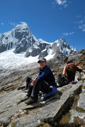 Picnic lunch time, Punta Union pass. Santa Cruz trek, Cordillera Blanca, Peru