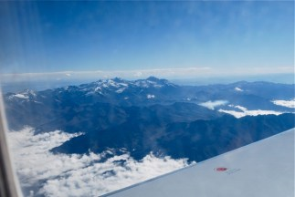 View over Andes from plane