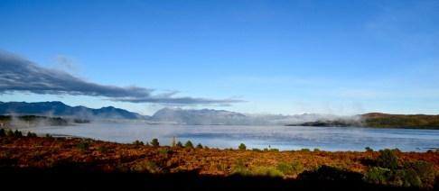 Early morning mist over Lago Nahuel Huapi, Argentina.