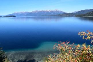 Vibrant Lago Nahuel Huapi, in autumn sunshine.