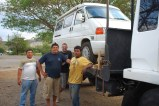Honduras: the village turns out to help us with the van