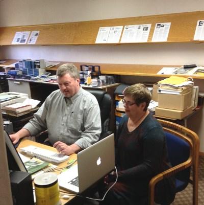 Pat and Kevin at computer