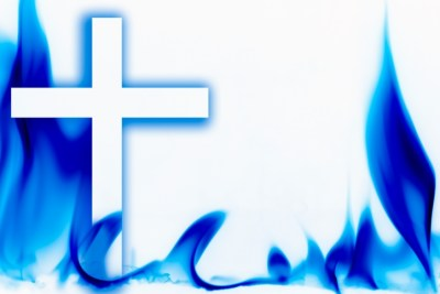 Illustration of fire and the cross