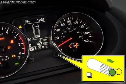 nissan tire rotation light reset