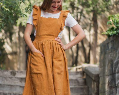 Ľanové sukňošaty s volánom-MATILDA