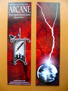 Arcane bookmark, front and back