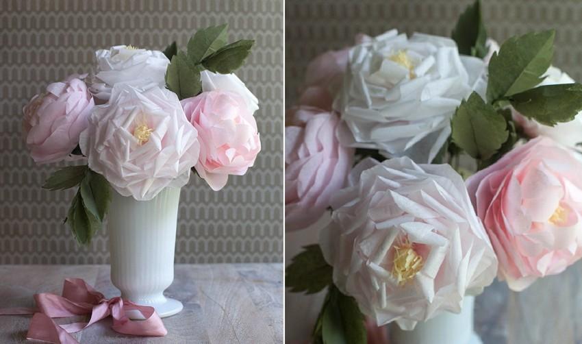 नैपकिन से गुलाब का गुलदस्ता