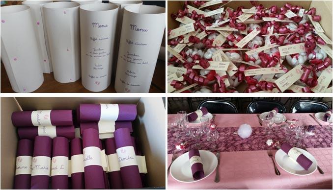 Menus, ronds de serviette, étiquettes de dragées