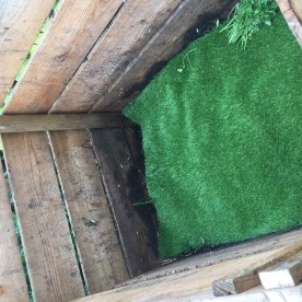 Recycled plastic turf makes a brilliant breathable and long lasting cover for compost.
