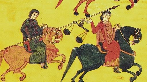 Pintura de un grupo de jinetes almorávides