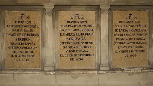 Lápidas de la familia De Borbón y Orleans