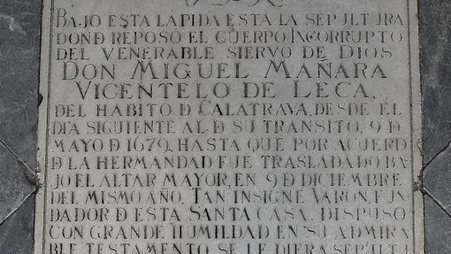 Lápida de la tumba de Miguel de Mañara