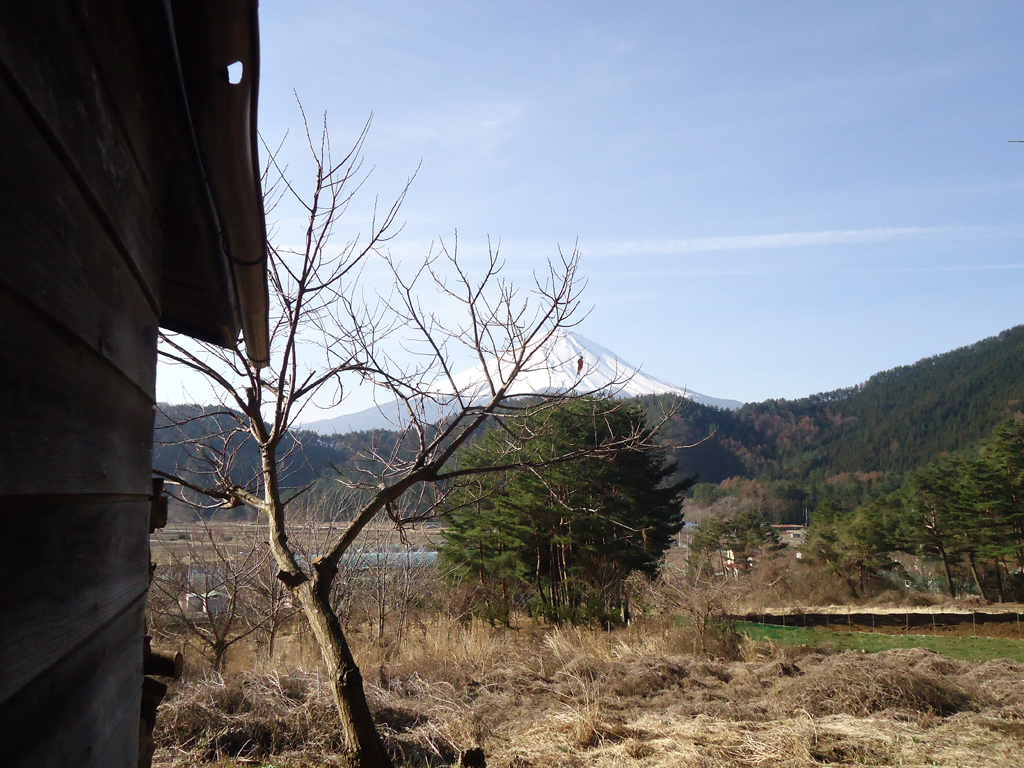 Vista fora do quarto para o Monte Fuji do lago Kawaguchiko
