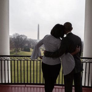 President Barack Obama & First Lady Michelle Obama on the Truman Balcony.