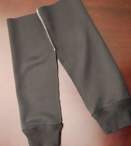 Overlock the two pants pieces together down to the crotch mark