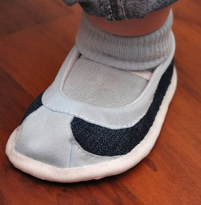 Baby or toddler shoe in action